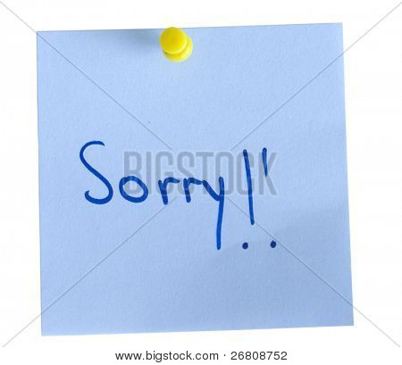 adhesive note Sorry
