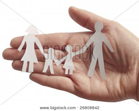 family in female hand