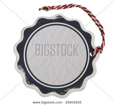 price tag with red string isolated on white
