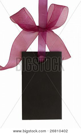 black price tag or  address label with beautiful bow