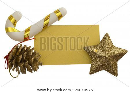 blank, yellow paper note in the holiday arrangement