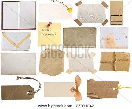 collection of notes, vintage pages, tags, papers....