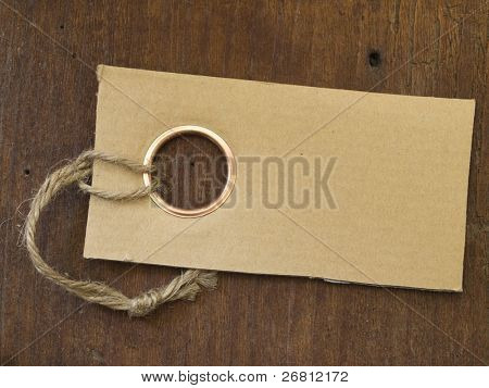label on the wooden background