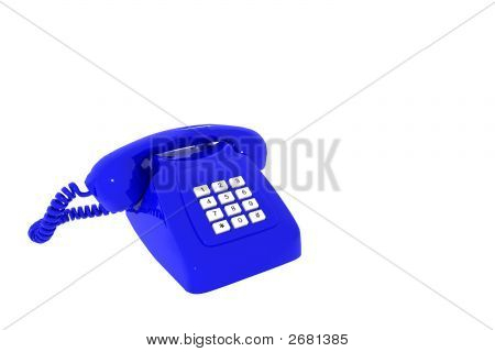 Antique Blue Phone On White Background Insulated 3D