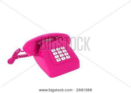 Antique Pink Phone On White Background Insulated 3D