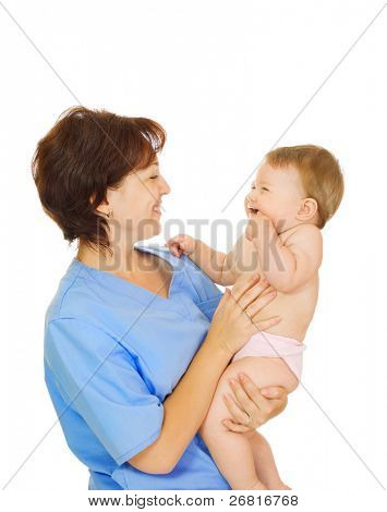 Doctor holding small smiling baby isolated on white #2