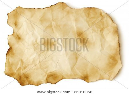 Scorched old paper sheet isolated