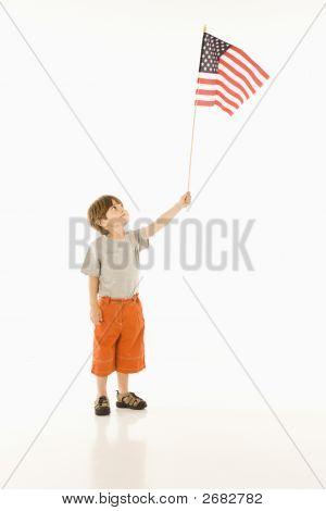 Boy Holding American Flag.