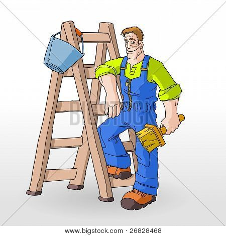 Painter Painting With Ladder
