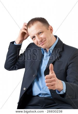 Doubting businessman scratching his head and showing thumbs up sign