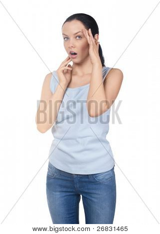 Portrait of attractive young woman looking shocked isolated on white background