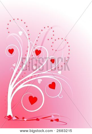 Valentine Sweetheart Tree On Pink Gradient