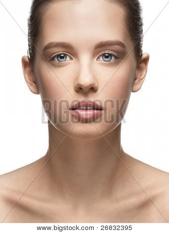 Close-up portrait of beautiful girl with perfect healthy skin and natural makeup, isolated on white background