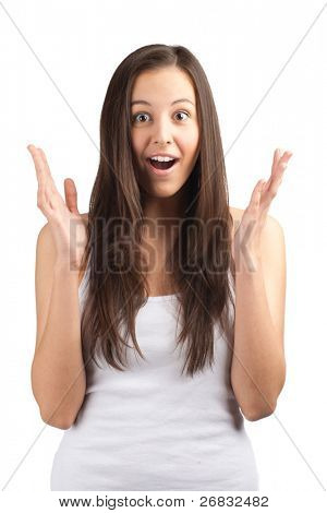 Portrait of surprised beautiful girl  in casual wear with raised arms. Isolated on white background.