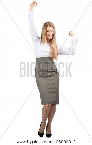 Full length portrait of successful young businesswoman raising her arms in joy and smiling. Isolated on white background