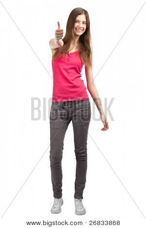 Full length portrait of a happy young woman standing and showing thumbs up, against white background