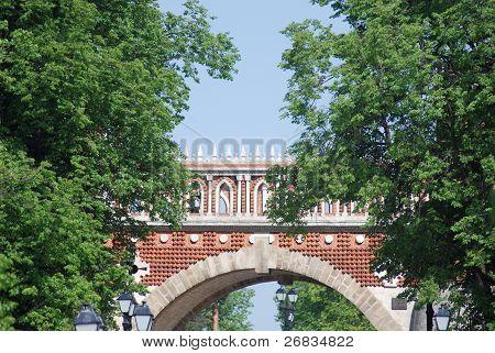 Bridge At The Summer. Palace Of Queen Ekaterina In  Moscow. Zarizino (tsaritsino, Tsaritsyno, Tsarit