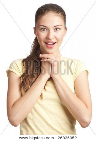 Portrait of excited beautiful woman looking surprised. Isolated on white background.