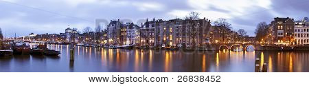 Panoramic view from Amsterdam with the Thiny bridge in the Netherlands