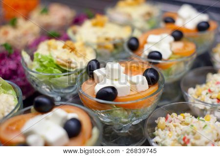 Appetizers on restaurant display, shallow focus