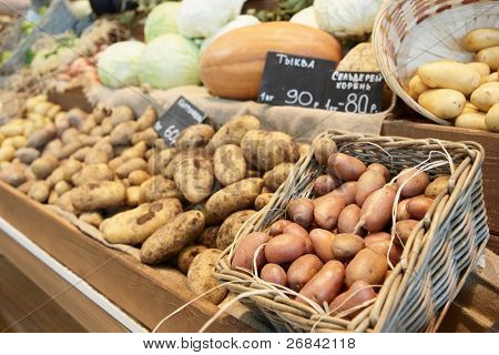 Potatos and another vegetables on farmer's market