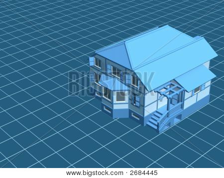3D Model The House, Worth On A Digital Surface