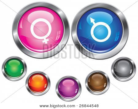 Vector collection icons with gender sign, empty button included