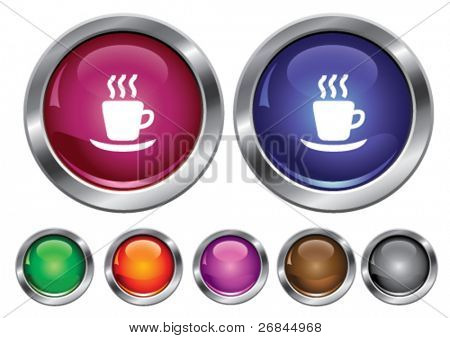 Vector collection icons with hot cup sign, empty button included