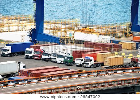 Port warehouse with containers and industrial cargoes