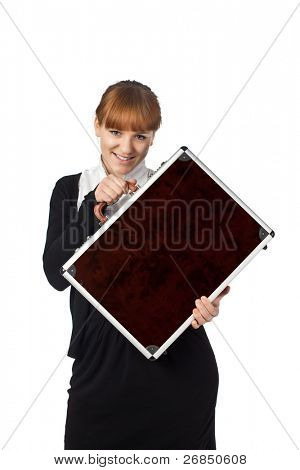 Woman hold brown suitcase isolated on white background