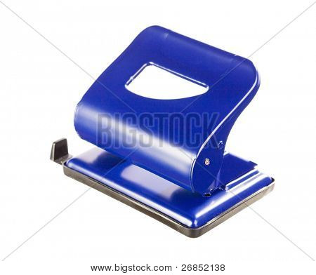 Blue office puncher on white background