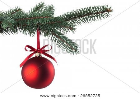 Christmas ball with curly ribbon on christmas tree