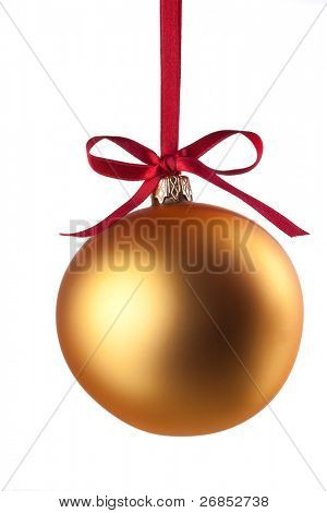 Christmas ball with curly ribbon isolated on white