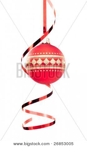 Christmas baubles with ribbon isolated on white