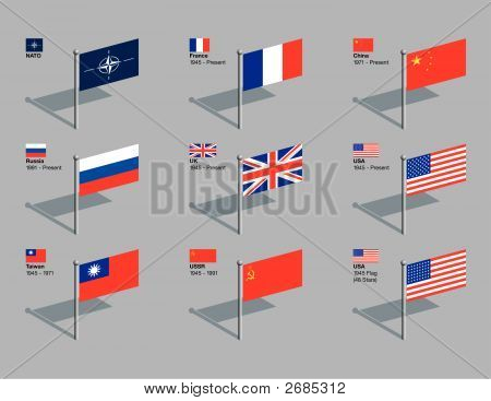 Flag Pins - Nato And Un Security Council