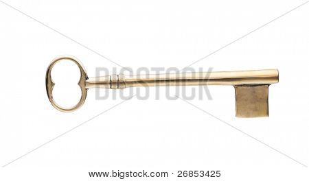 Gold Skeleton Key Isolated on White.