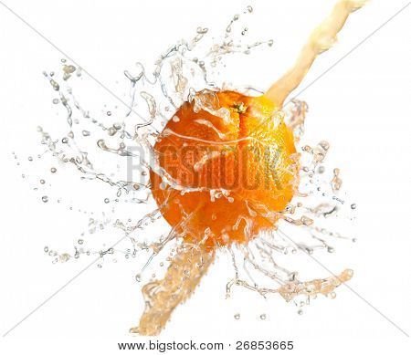 fresh orenge juice isolated on white