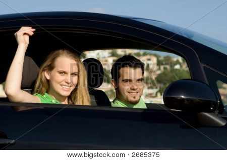 Couple In New Or Hire Car