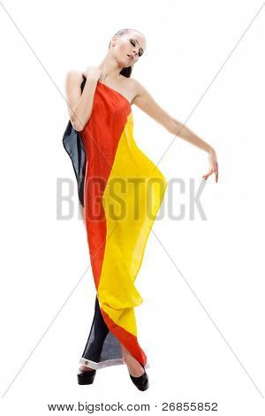 Naked girl covered with german flag