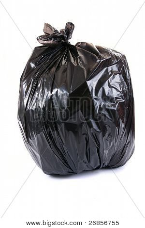 tied black rubbish bag isolated on white background