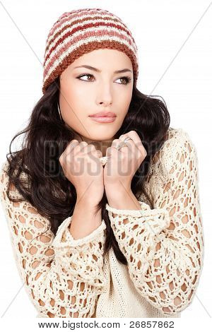 Pretty Black Hair Woman Holding Her Sweater