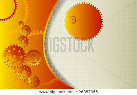 vector abstract background with gear wheels and copy space