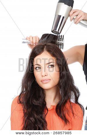 Hairdresser Is Drain A Long Black Hair
