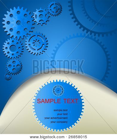Template web background with gear wheels on blue background with copy space