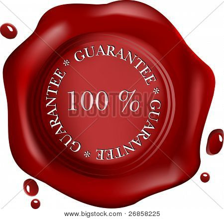 realistic wax seal with text: satisfaction, with drops (vector)