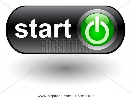 Start - power on - web button, vector