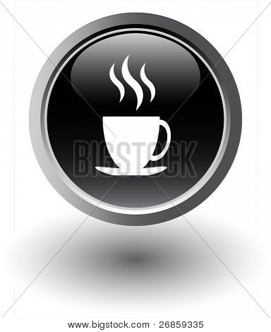 Black tea icon - web button, vector