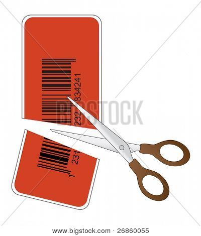 scissors cutting price tag with bar code in half