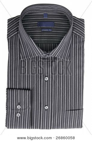 A new black pinstriped dress shirt isolated over a white background