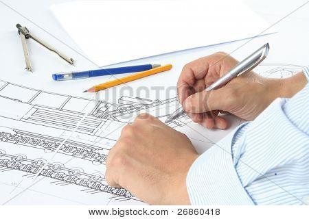 Kompasse, Bild-, Bleistift und hand